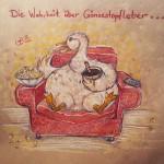 """""""Die Wahrheit über Gänsestopfleber"""" Illustration Anfang 2014, Polychromos von Faber Castell auf Recyclingpapier im Format A3"""
