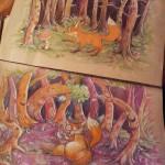 """""""What does he fox say?"""" und die Fortsetzung dessen Polychromoss / Buntstifte auf recyceltem Papier im Format A3"""