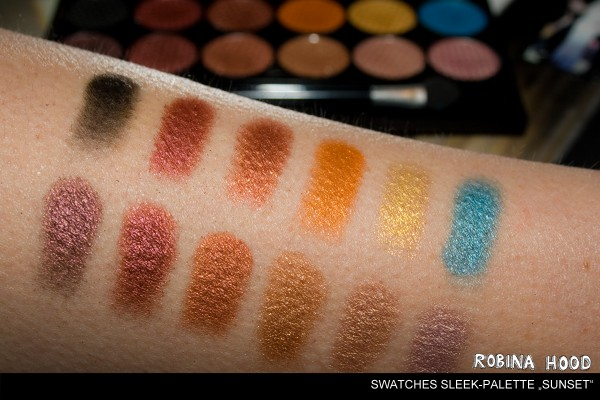 Swatches Sleek Sunset Lidschatten-Palette Eyeshadows