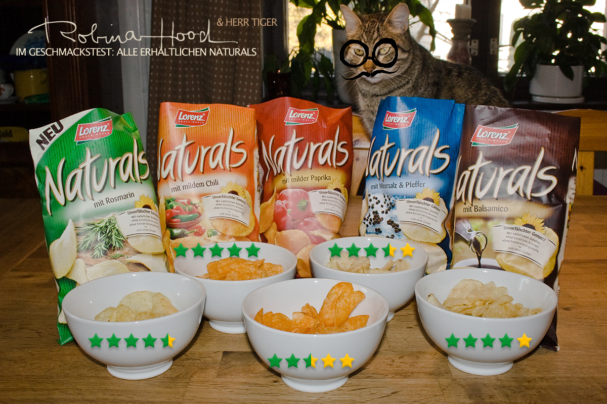 Lorenz Naturals Kartoffelchips v.l.n.r.: mit Basilikum, milder Chili, milde Paprika, Meersalz & Pfeffer, Balsamico