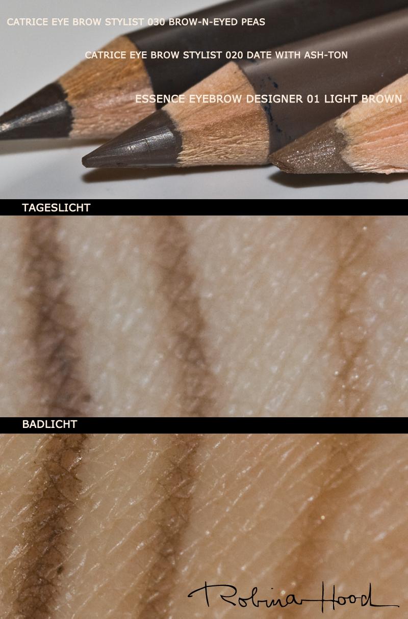 Die drei getesteten Augenbrauenstifte von links nach rechts: CATRICE 030 Brow-n-eyed Peas, 020 Date with Ash-ton, essence 01 Light Brown