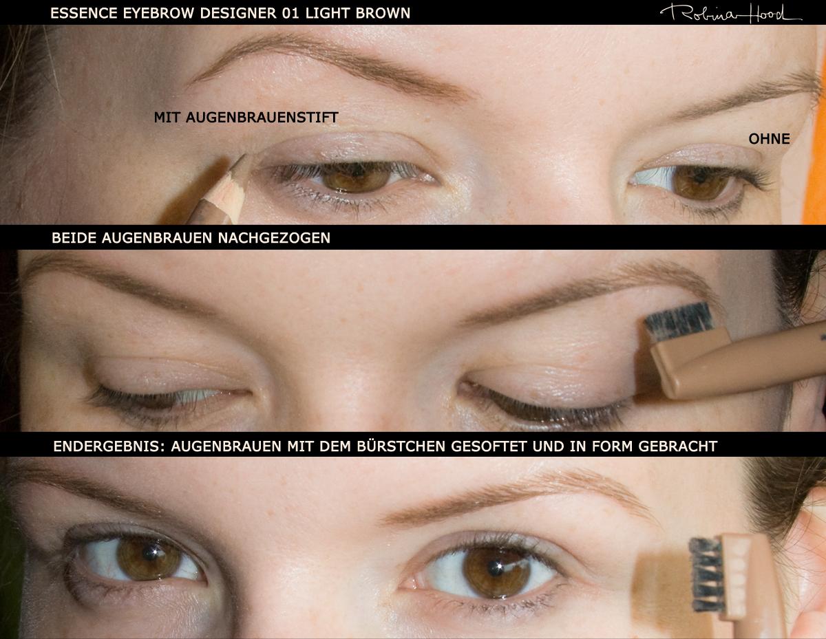 Der Augenbrauenstift von essence kostet 1,25 € (weiß es nicht mehr ganz genau) und ist für besonders helle Augenbrauen geeignet. Bei mir leider zu rotstichig und deshalb ausgemustert.