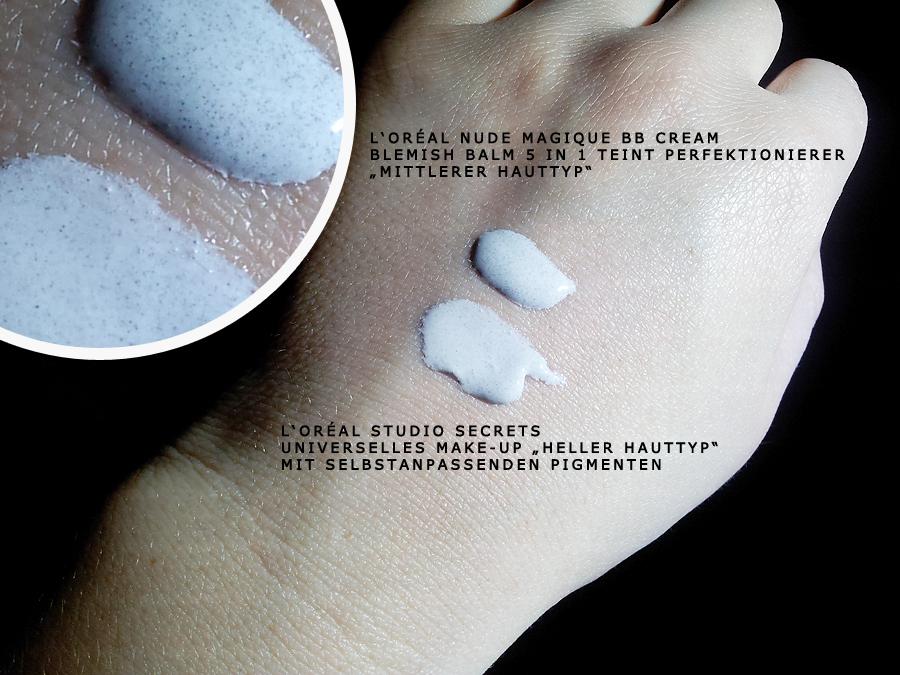 Handrückenauftrag: L'Oréal Nude Magique BB Cream und Studio Secrets Professional Make-up