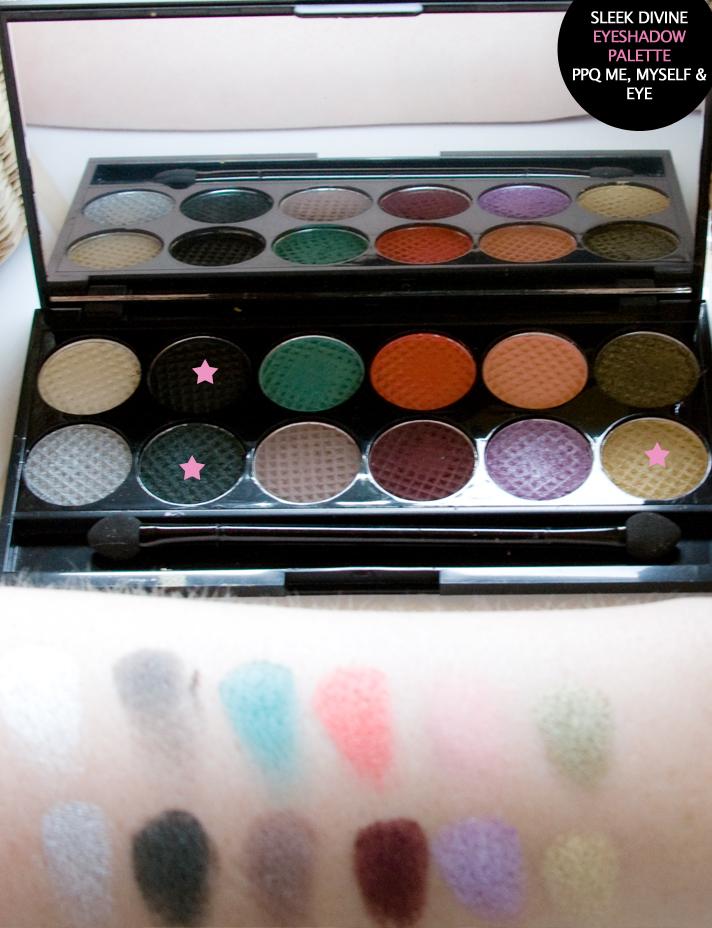 Swatches der Lidschatten aus der Sleek Makeup Lidschatten Palette - i-Divine PPQ Me, Myself & Eye