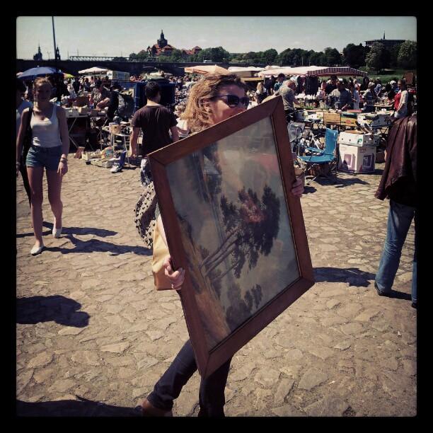 Robina Hood auf dem Trödelmarkt: große Beute gemacht - riesiger, alter Bilderrahmen! :D