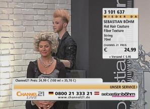 Promifriseur und Beauty-Produkt-Verkäufer: Sebastian Böhm auf dem TV-Sender Channel 21