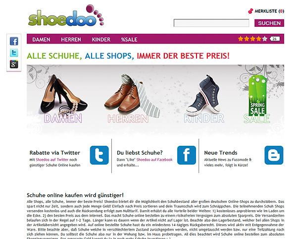 """Startseite des Preis-Schuh-Portals """"shoedoo"""""""