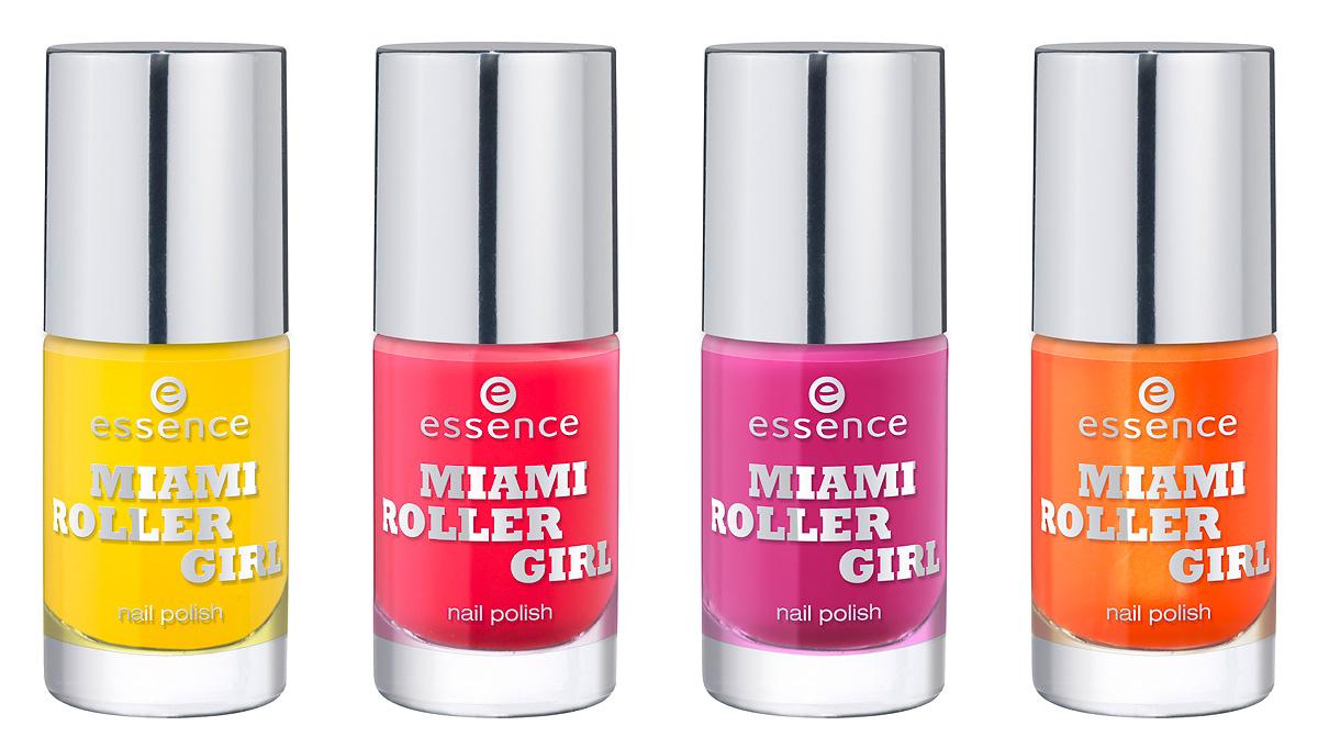 Produktfoto: essence Nagellacke in den Farben 01 bienvenido a miami, 02 miami p´ink, 03 four wheel drive und 04 miami heat. Um 1,79 €*.