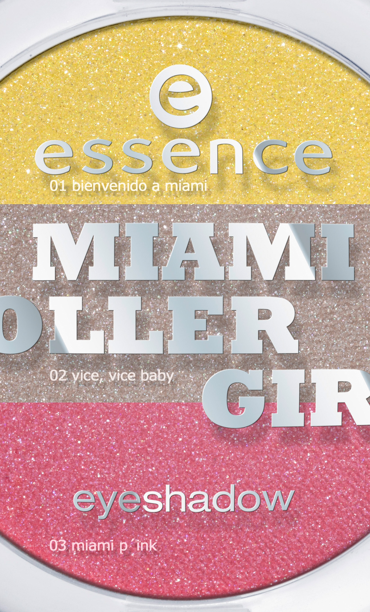 "essence ""miami roller girl eyeshadows"" in den Farben 01 bienvenido a miami, 02 vice, vice baby und 03 miami p´ink. Um 1,59 €*"