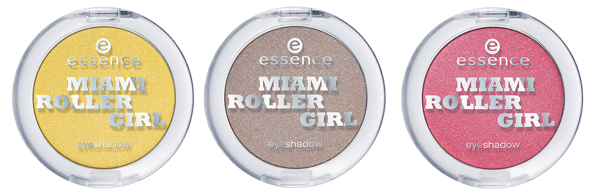 "Produktfotos: essence ""miami roller girl eyeshadows"" in den Farben 01 bienvenido a miami, 02 vice, vice baby und 03 miami p´ink. Um 1,59 €*"