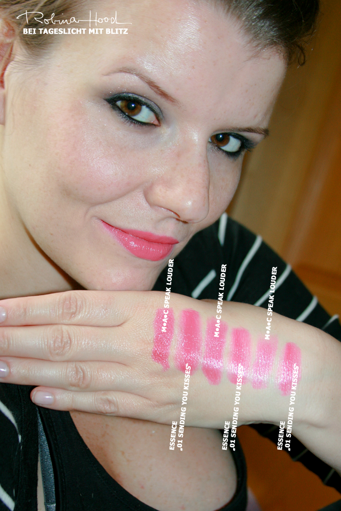"essence ""Ready for Boarding""-LE 2012 lip & cheek creme & MAC Cremesheen ""Speak Louder"" Lipstick im Vergleich"
