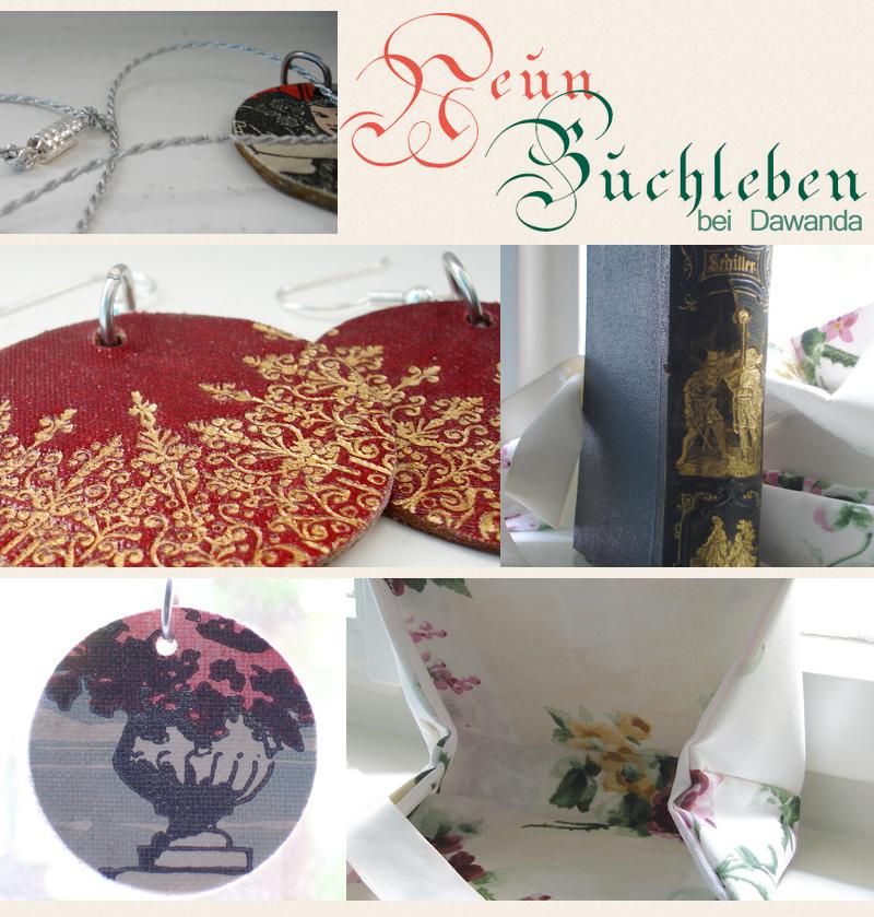 """Neun Buchleben"" bietet auf Dawanda selbstgemachte Recycling-Kunstwerke an."