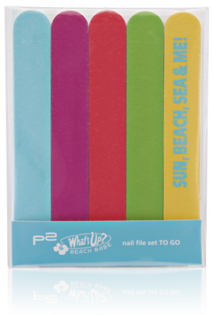"Limitiert bei dm zu bekommen - p2 ""What's up? Beach Babe""- Kollektion. Hier: nail file set to go"