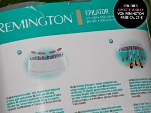 """Die Rückseite der Umverpackung des Remington """"Smooth & Silky""""-Epilierers"""