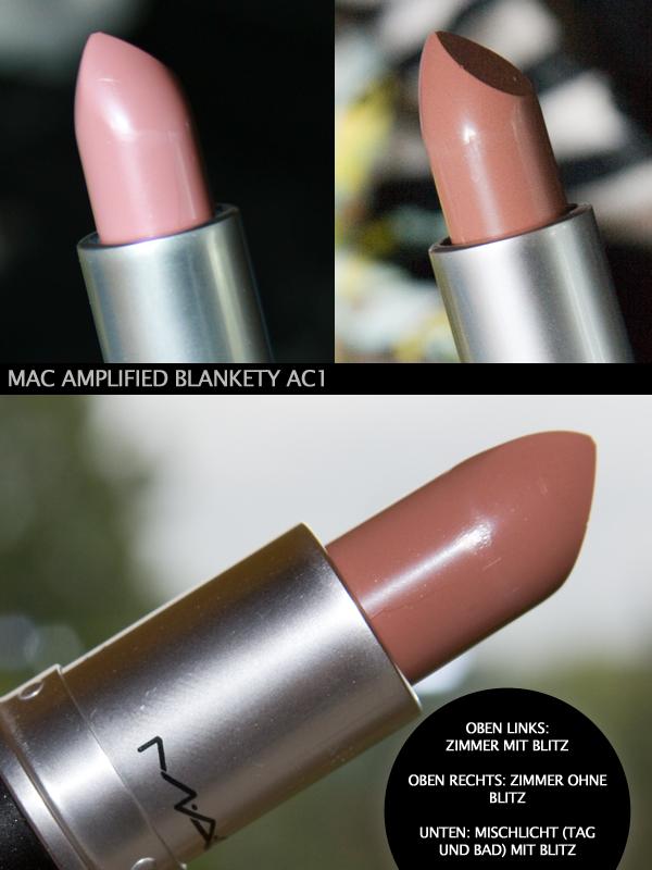 """Bei verschiedenen Lichtverhältnissen:  M•A•C Amplified Lipstick """"Blankety"""""""