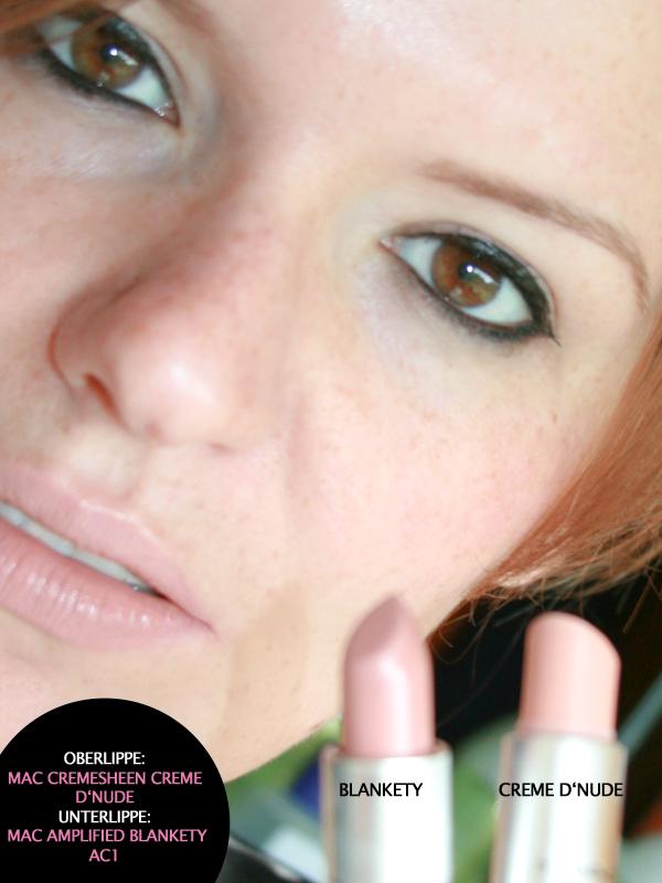 """Robina Hood mit Doppellippe: Oberlippe M•A•C Cremesheen """"Creme d'Nude"""" und auf der Unterlippe M•A•C Amplified Lipstick """"Blankety"""""""