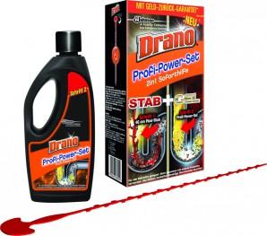 Das Drano Profi-Power-Set ist 2in1 Soforthilfe.