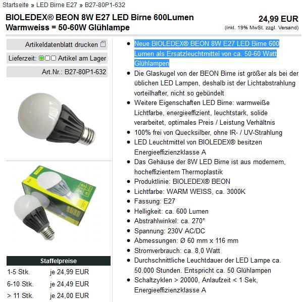 Na, dämmert euch, was die Lampe ist? ;D BIOLEDEX BEON 8W E27 LED Birne