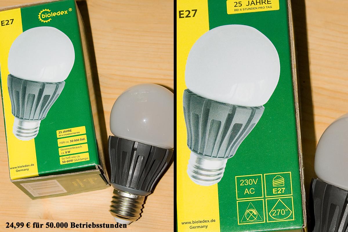 So harmlos kommt die Lampe daher: BIOLEDEX BEON 8W E27 LED Birne
