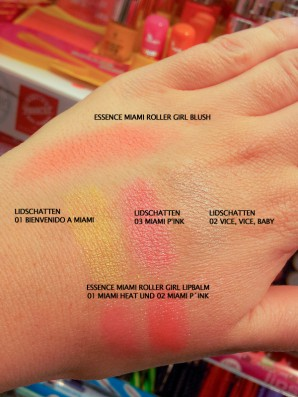 "essence ""miami roller girl""-LE - Handrücken-Swatches Blush, Lidschatten, Lipbalms"