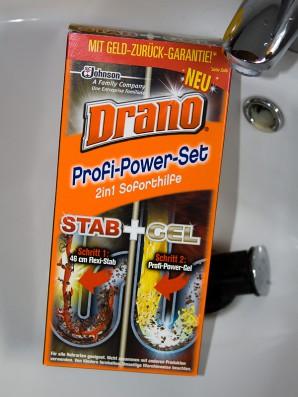 """So sieht die Umverpackung des Drano """"Profi-Power-Sets"""" aus. Enthalten sind Stab und Gel"""