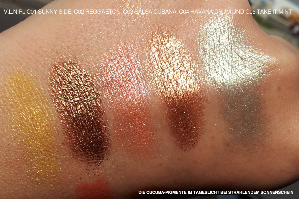 "CATRICE ""CUCUBA""-LE August 2012 - Handrückenswatches der Loose Eye Shadows C01 Sunny Side, C02 Reggaeton, C03 Salsa Cubana, C04 Havana Drum und C05 Take It Mint. Um 2,99 €*"