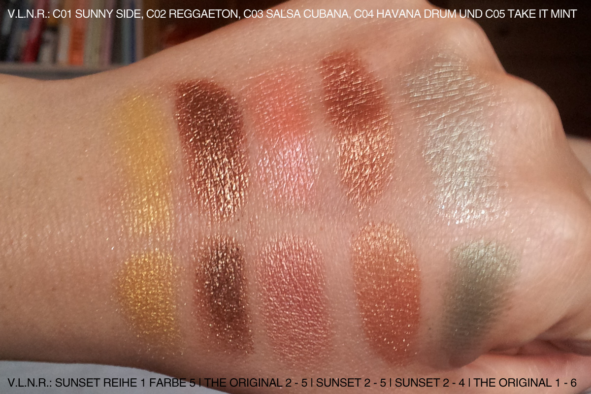"""Swatches der CUCUBA-LE Pigmente (Loose Eyeshadows) oben und Swatches der Sleekpaletten """"Sunset"""" und """"Original"""" unten. Verblüffend, oder? ; )"""