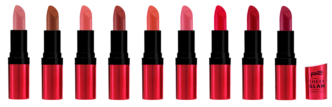 p2 cosmetics perfect Look Herbst 2012 Sheer glam lipsticks