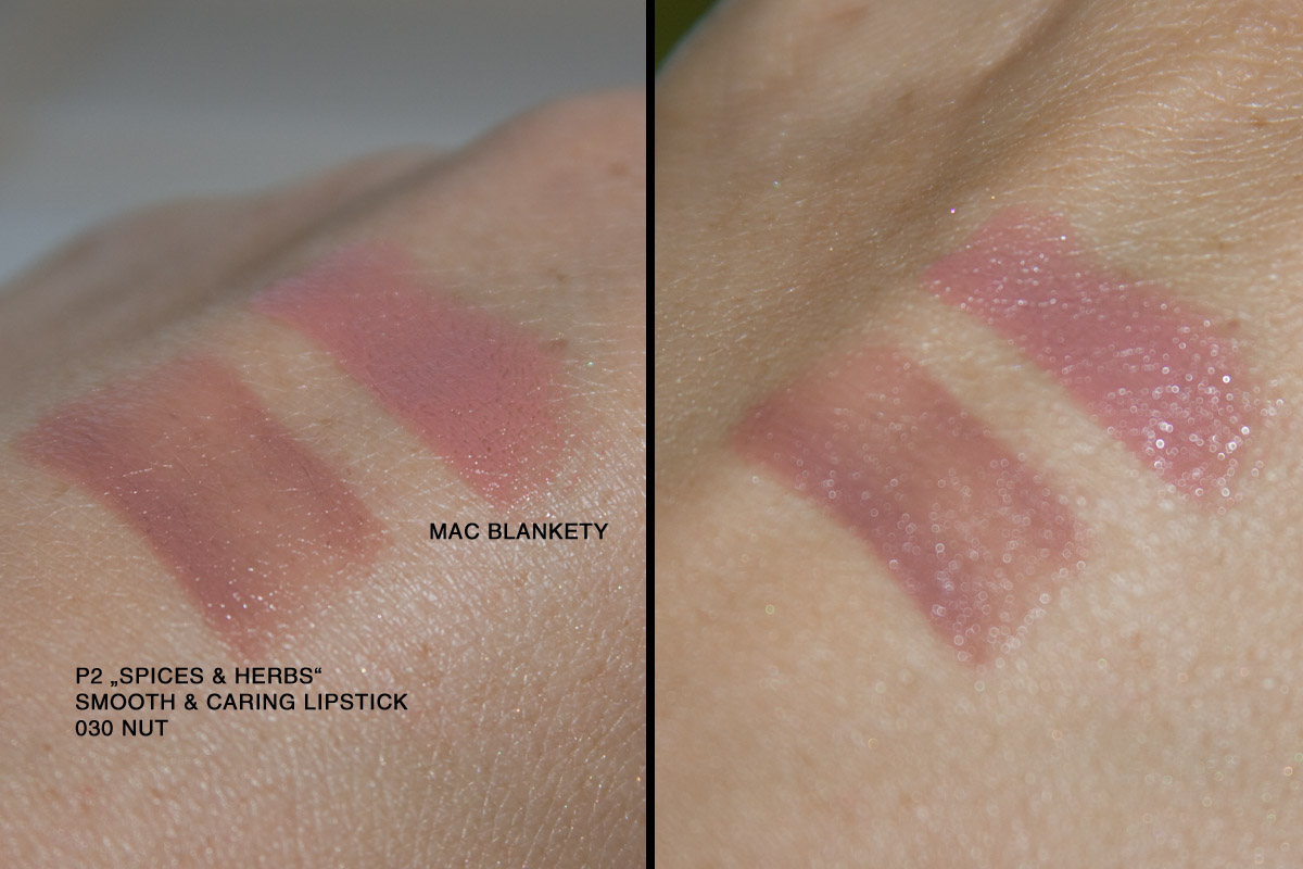 "Handrückswatches: links p2 ""Spices & herbs""smooth caring lipstick 030 nut 