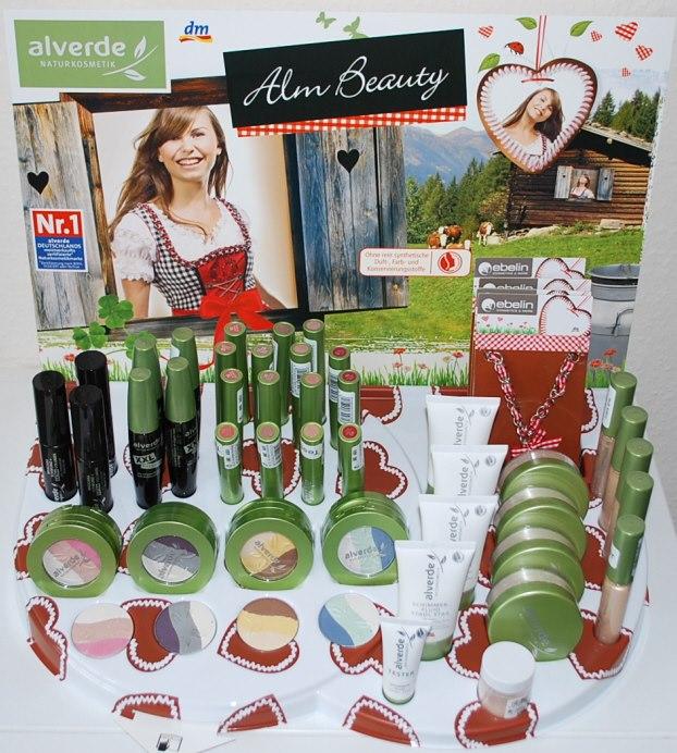 """Aufsteller der limitierten """"Alm Beauty""""-Edition von alverde (ab 12.09.2012 in ausgewählten dm-Filialen)"""