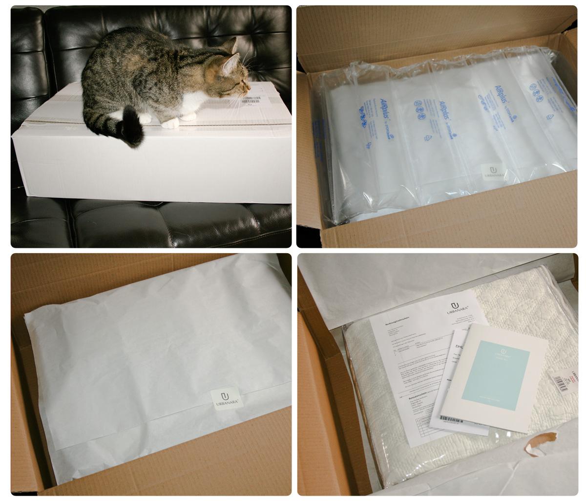 Die URBANARA-Lieferung: Die Tagesdecke war in Seidenpapier gehüllt, das von einem URBANARA-Sticker zusammengehalten war.