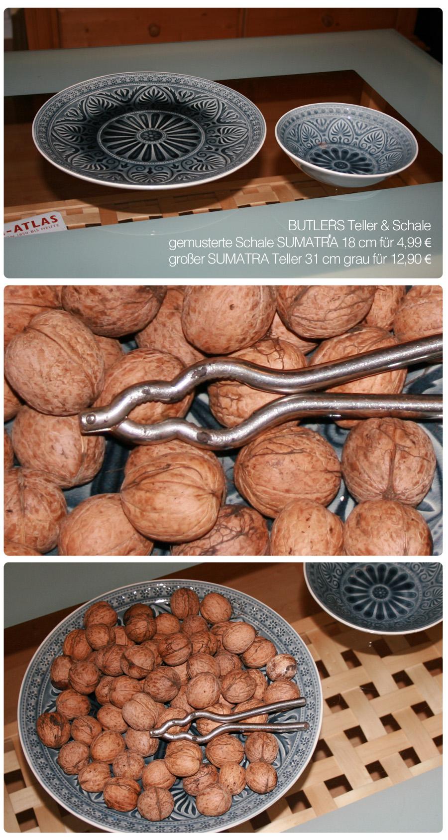 Dekotipp: gemusterter Teller von BUTLERS als Walnussschale