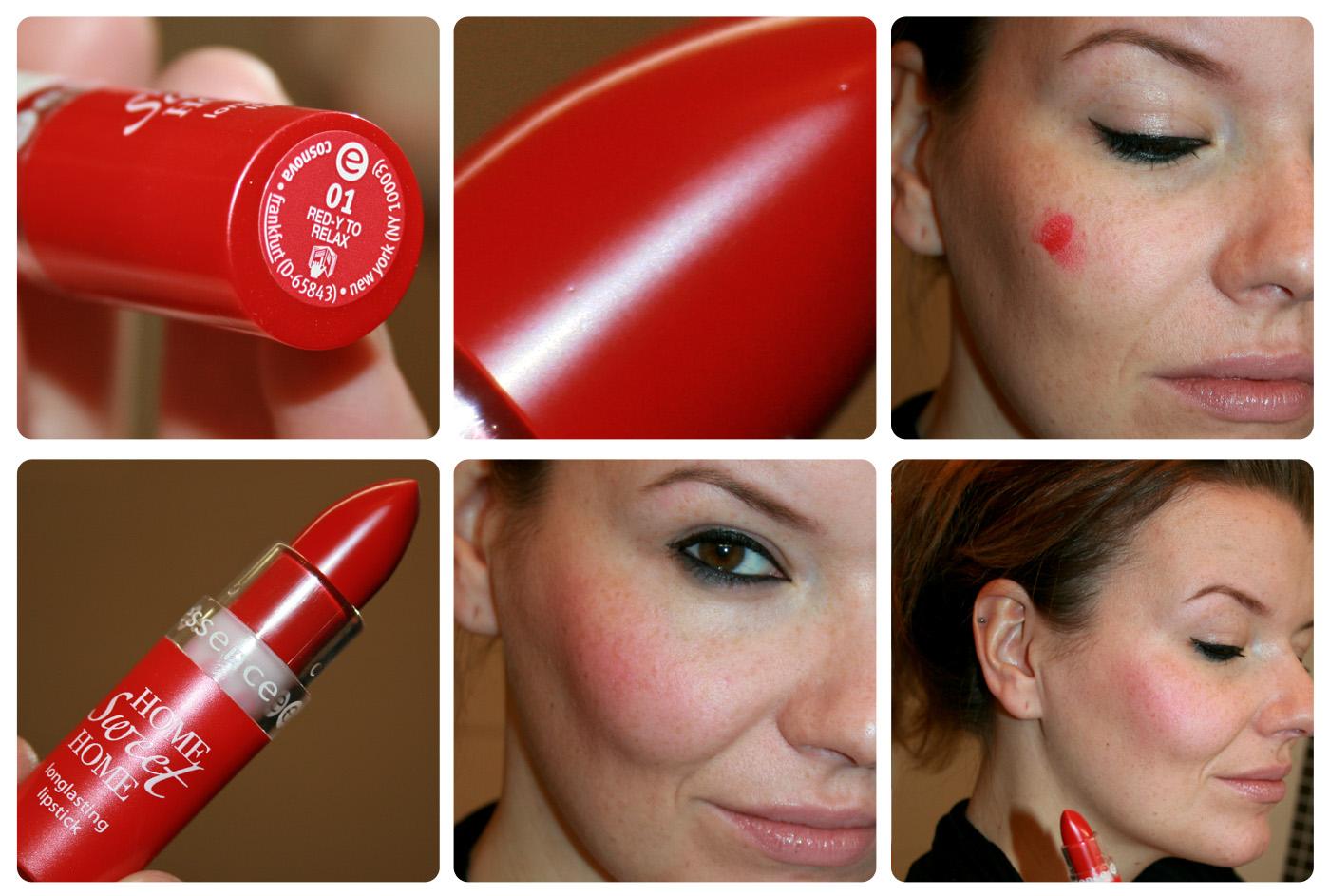 """Der longlasting Lipstick aus der """"home sweet home""""-Edition von essence (Oktober/November 2012) im knalligen Rot"""