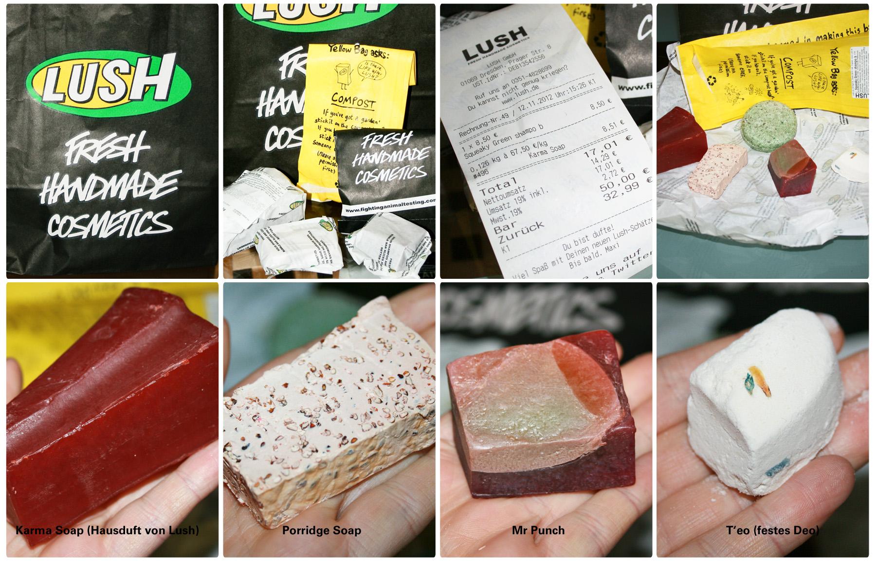 LUSH Seifen und Deo - Karma Soap, Porridge Soap, Mrs Punch Fruity, T'eo, Squeeky Green shampoo bar