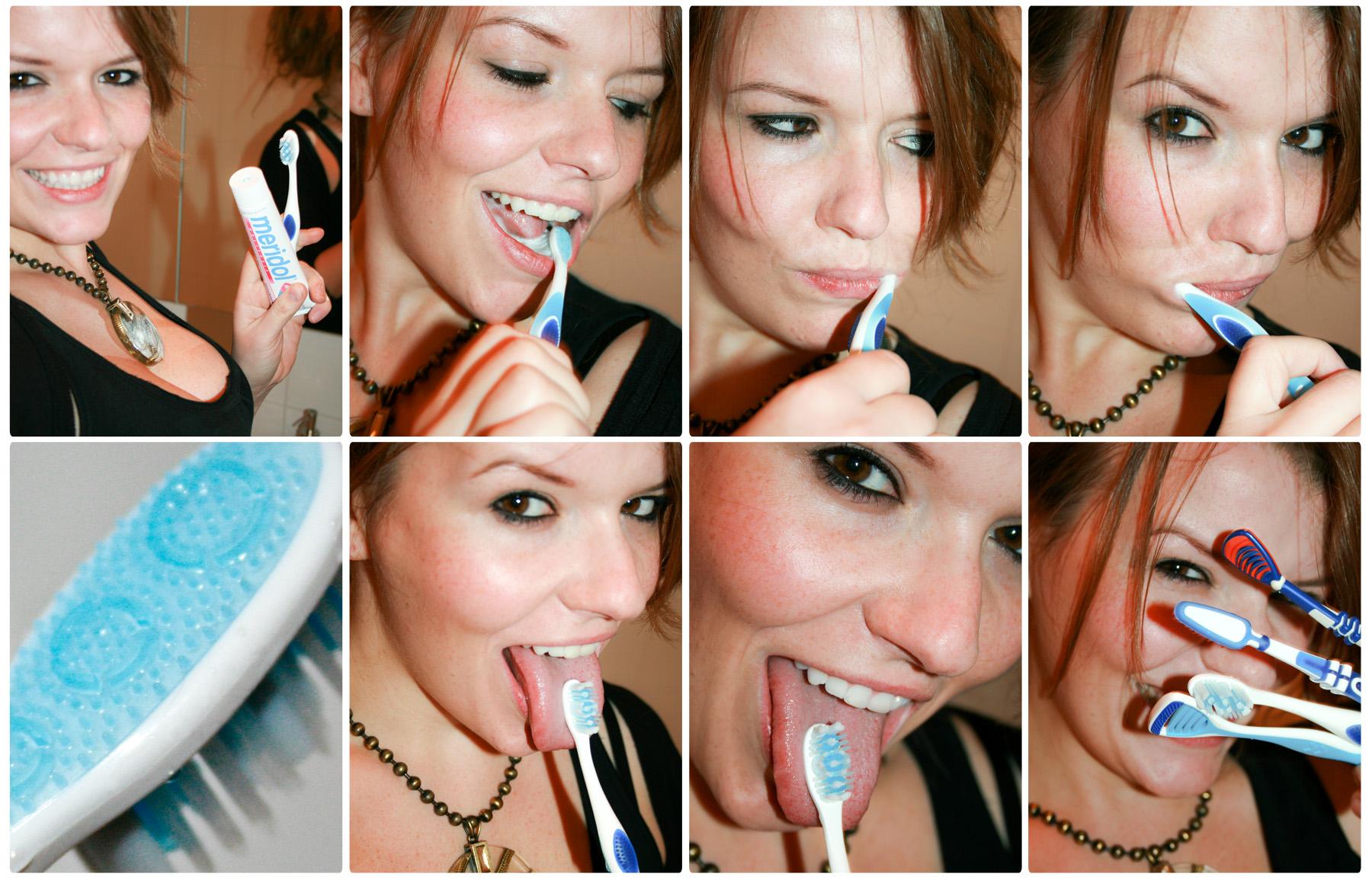 Mundhygiene mit meridol HALITOSIS Produkten: Zahncreme und passende Zahnbürste