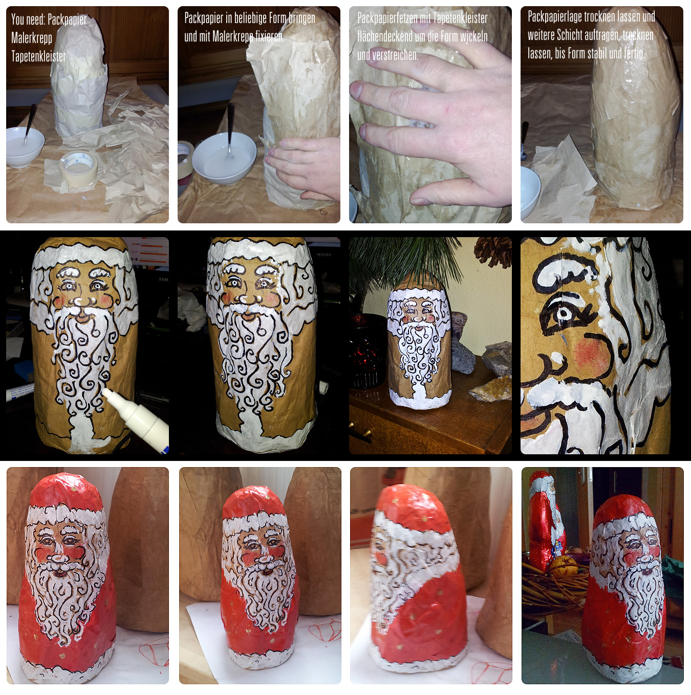 DIY: Weihnachtszeit, Bastelzeit – Weihnachtsmann aus Pappmaché / Pappe