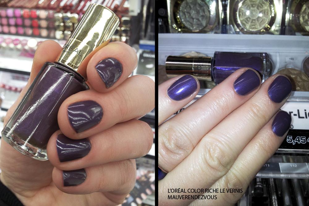 """L'Oréal Color Riche Le Vernis """"501 mauverendezvous"""": links ohne Blitz, rechts mit"""