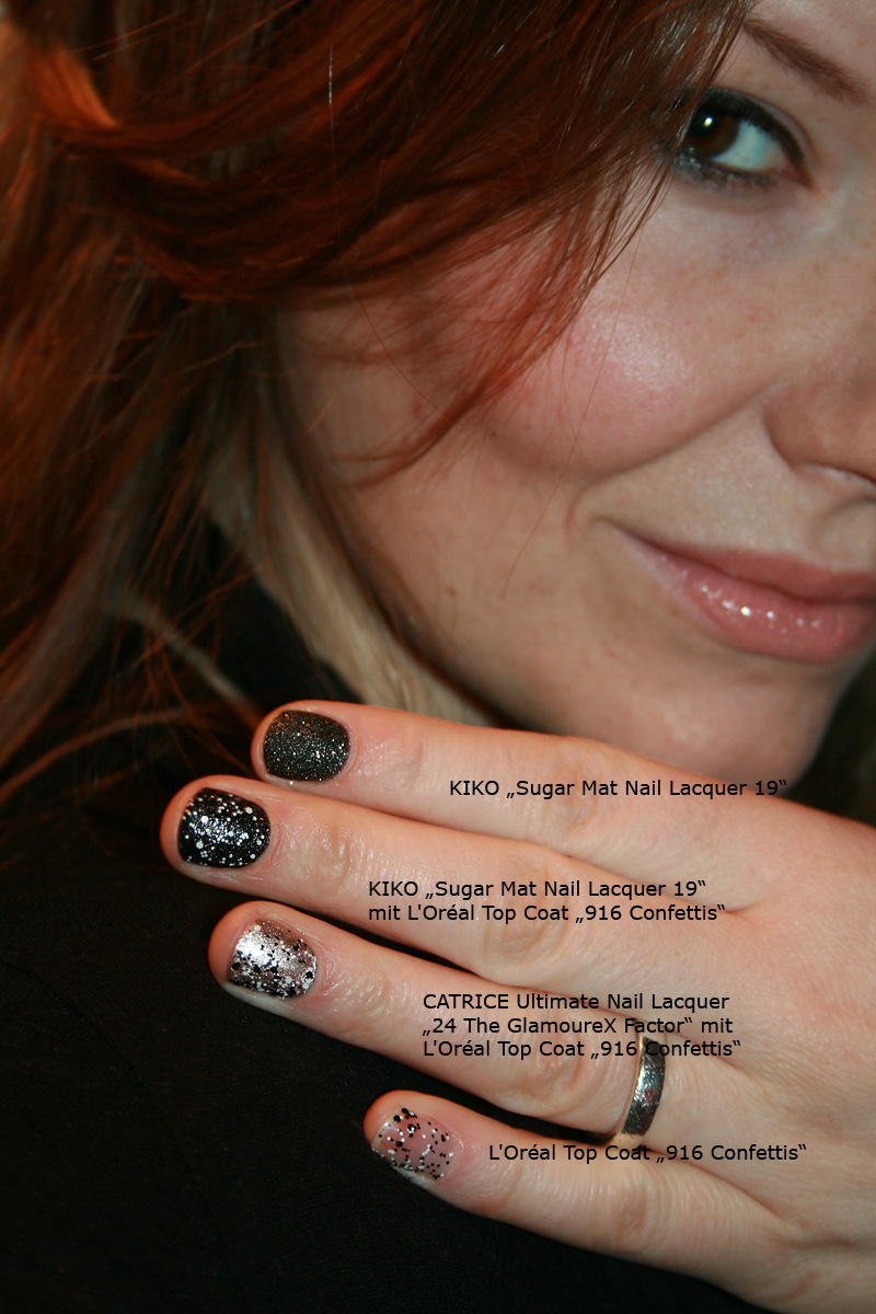 "KIKO Sugar Mat 19, L'Oréal Confettis 916 Top Coat, CATRICE ""24 GlamoureX Factor"" Nagellack"