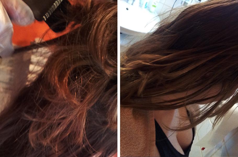 Einfach Haaraufheller mit dem Pinsel auf die Strähnchen malen.