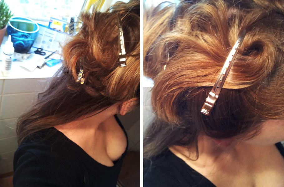 Haare abteilen und hochstecken