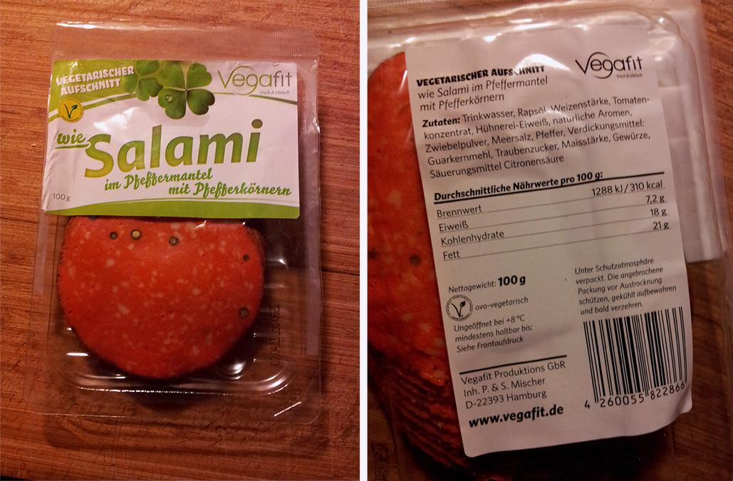 """Vegafit """"wie Salami"""" mit Pfeffermantel und Pfefferkörnern: vegetarische Salami Verpackung und Nährtwertangaben"""