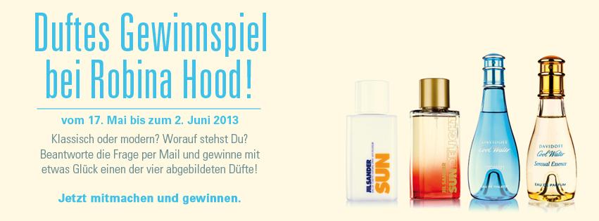 Gewinnspiel für Facebookfans von Robina Hood: Jil Sander Sun, Jil Sander Sun Delight, Davidoff Cool Water, Davidoff Cool Water Sensual Essence