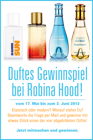 Gewinnspiel mit Untersttzung von Flaconi fr Facebookfans von Robina Hood: Jil Sander Sun, Jil Sander Sun Delight, Davidoff Cool Water, Davidoff Cool Water Sensual Essence