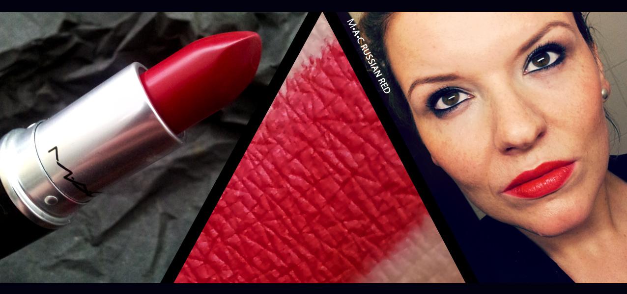 MAC matte lipstick russian red Swatch und Tragefoto Robina Hood