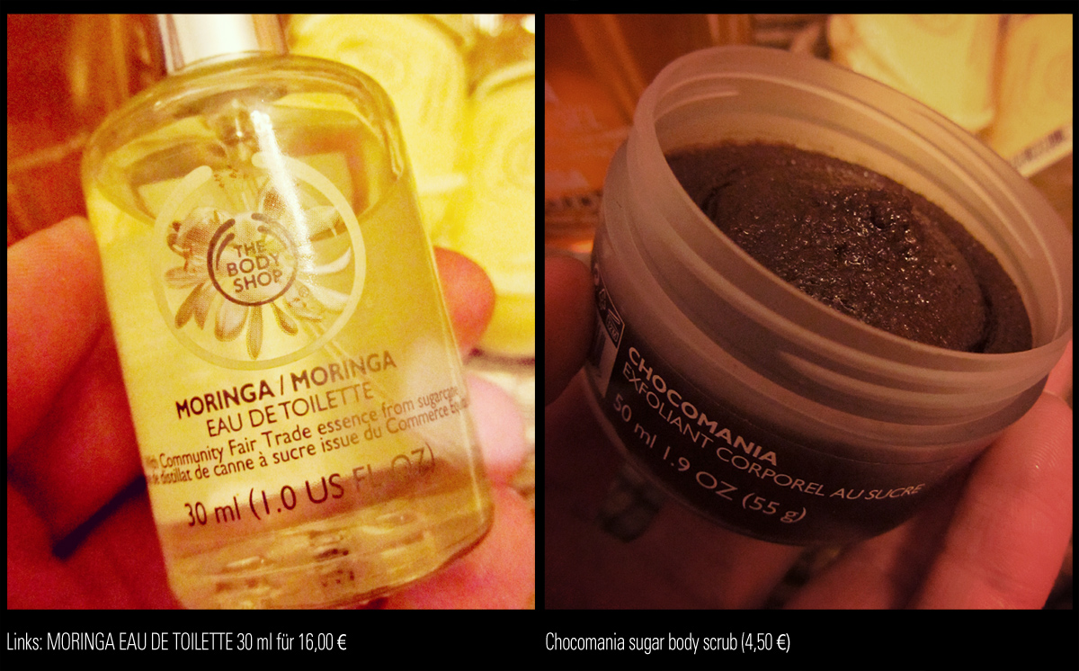 MORINGA Eau de Toilette von THE BODY SHOP und CHOCOMANIA sugar body scrub