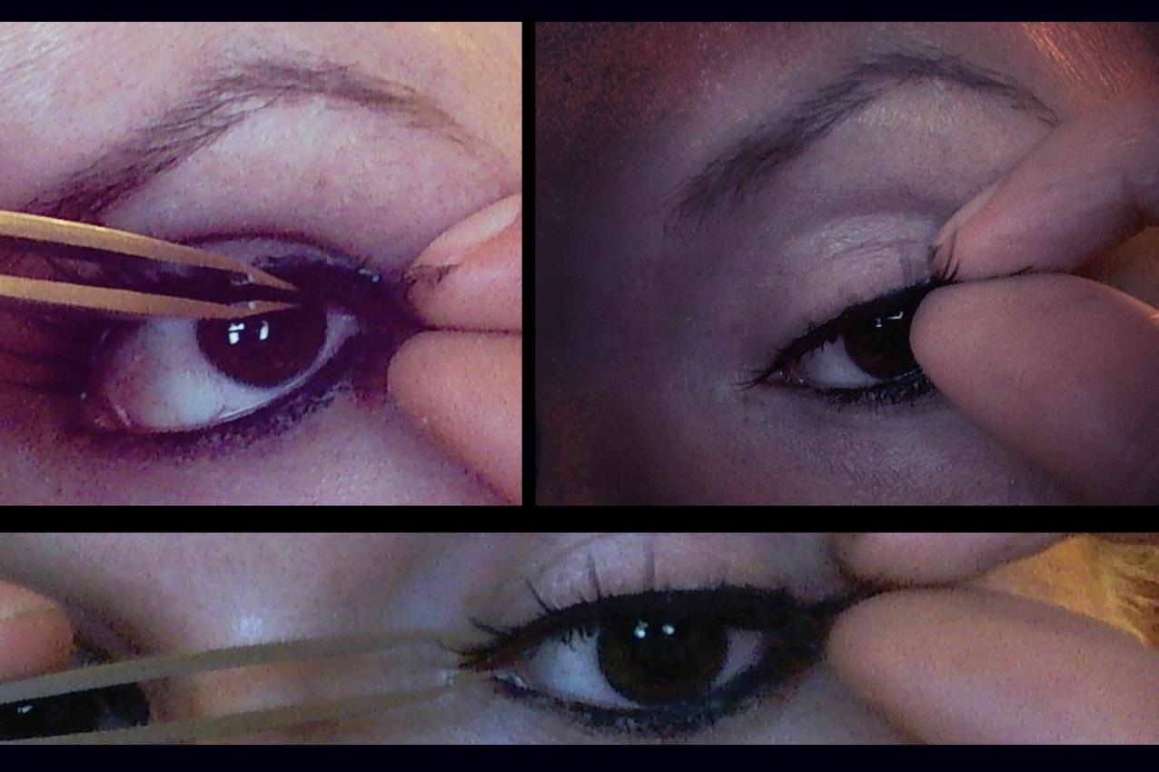 Falsche Wimpern aufkleben