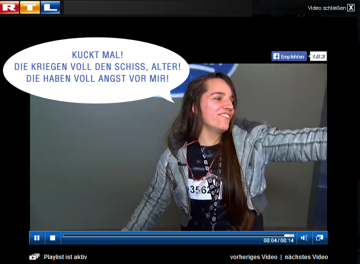 Psycho Melisa Omeragic bei DSDS (Screenshot RTL NOW)