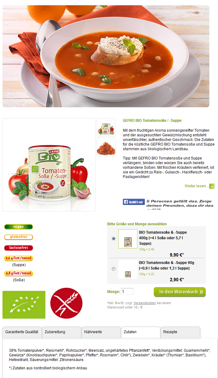 Screenshot GEFRO-Webseite Bio Tomatensupper/-soße