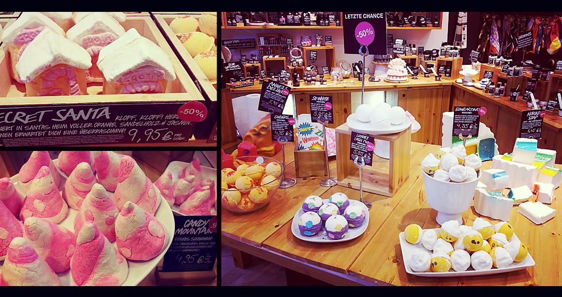Robina Hood Sale bei Lush in Dresden: Bombardino, so white, Candy Mountain, Santas House usw.