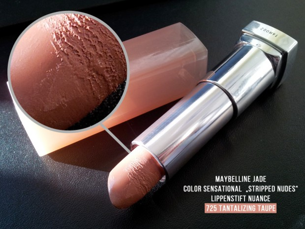 Maybelline Jade color sensationel Stripped Nudes - Swatch 725 Tantalizing Taupe Konsistenz